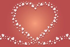Frame by paper cut of heart shape, Logo of valentine day and love symbol. Many hearts  icon, Frame of white heart on the red background, Frame by paper cut of Stock Image