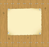 The frame of the paper pinned to wooden planks Stock Photo