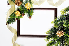 Frame paper wooden and Christmas decorations Royalty Free Stock Photo