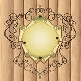 Frame with parchment on wooden Royalty Free Stock Image