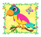 Frame with Parrot and Butterfly Stock Photography