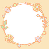 Frame of pastel color tone flowers with empty space Royalty Free Stock Image