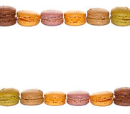 Frame of pastel colored french macarons Stock Photo