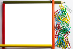 Frame of pencils and paper clips Stock Photography