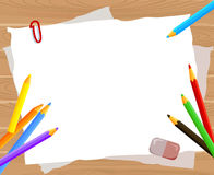 Frame with pencils on the wooden background Royalty Free Stock Photography