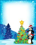 Frame with penguins near Christmas tree vector illustration