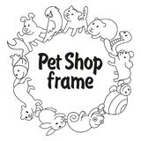 Frame Pet shop, types of pets. Round frame Pet shop, types of pets, cartoon illustrations animals in line style. Logo, pictogram, infographic elements Stock Photos