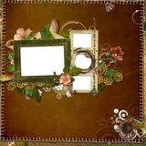Frame for a photo. Frame for photo on a background with a stitch and decoration Royalty Free Stock Photos
