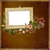 Frame for a photo. Frame for photo on a background with a stitch and decoration Royalty Free Stock Images