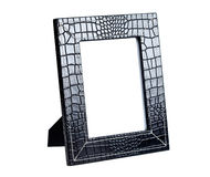 Frame for a photo from a black leather Stock Images