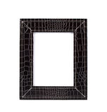 Frame for a photo from a black leather Stock Photography
