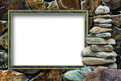 Frame for a photo with a cairn Stock Photography