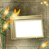 Frame for photo with flowers Stock Photo