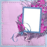 Frame for photo or greeting. On the floral background Royalty Free Stock Images
