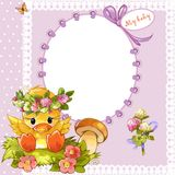 Frame for a photo with a little duckling. And flowers Royalty Free Stock Image