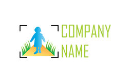 Frame photo logo. An intricate logo design that shows a gradiented silhouette of a little girl on a gradiented road that is surrounded by grass, in a photo frame Stock Image