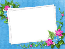 Frame for photo with orchids. Frame for photo with blue and pink orchids Royalty Free Stock Image