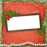 Frame for photo with pearls. And bunch of flower Royalty Free Stock Photography
