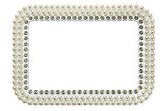 Frame for photo with pearls isolated on white background Stock Photography