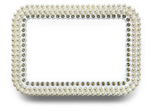 Frame for photo with pearls isolated on white background Stock Image