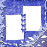 Frame for photo with pearls and lace. On the leafage ornamental background vector illustration