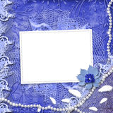 Frame for photo with pearls and lace. On the leafage ornamental background Stock Photo