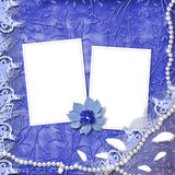 Frame for photo with pearls and lace. On the leafage ornamental background Royalty Free Stock Photo