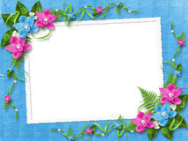 Frame for photo with pink orchids. Frame for photo with blue and pink orchids Royalty Free Stock Image