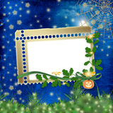 Frame for photo with pumpkin and flowers Stock Images