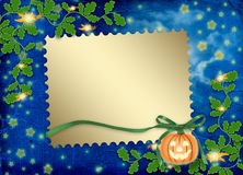 Frame for photo with pumpkin and flowers Stock Image
