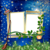 Frame for photo with pumpkin and flowers Royalty Free Stock Image