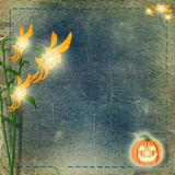 Frame for photo with pumpkin and flowers Stock Photos