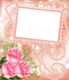 Frame for photo with rose and pearl Stock Image