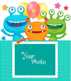Frame for photo. Small Alien Creature. Monster Party Invitation Card Design With Place For Photo. Royalty Free Stock Photos