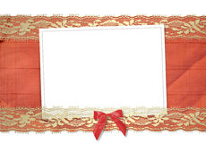 Frame for photos with gold lace and bow Stock Photos