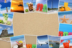 Frame with photos from summer vacation, sand, beach, holiday and Stock Photos
