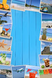 Frame with photos from summer vacation, sun, beach, holiday and Stock Photos
