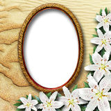 Frame for a picture with flowers lilies Royalty Free Stock Photo
