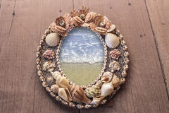Frame picture made from shells. seas in the frame. Royalty Free Stock Images