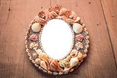 Frame picture made from shells. Royalty Free Stock Images