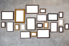Frame. Picture frame on the wall glay concrete stock image