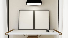 Frame picture on wooden table and pendent lamp - 3D Rendering. For artwor background etc Stock Image