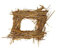 Frame pile straw isolated on white Stock Photos