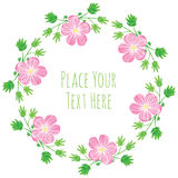 Frame pink delicate flowers with leaves garland. Round frame pink delicate flowers with green leaves garland - watercolor vector template royalty free illustration