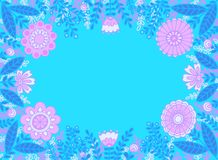 Frame of pink flowers and blue leaves on turquoise background. stock illustration
