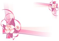 Frame with pink flowers, cdr vector. Frame with pink flowers and ornaments in the corners, vector format Stock Photography