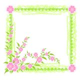Frame with pink flowers Stock Images