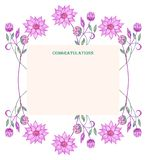 Frame of pink flowers and two birds. stock illustration