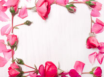 Frame of pink flowers on a white background.Flat lay, top view Royalty Free Stock Photos