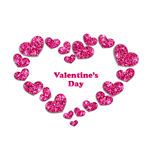 Frame from Pink Hearts with Glitter Background Royalty Free Stock Photography